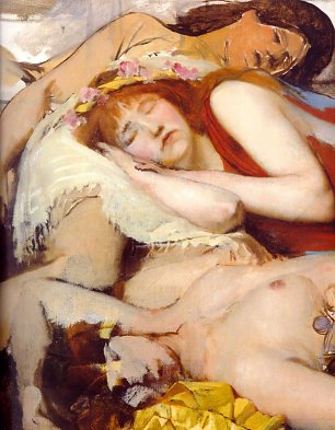Lawrence Alma Tadema Exhausted Maenides after the Dance Wandbild