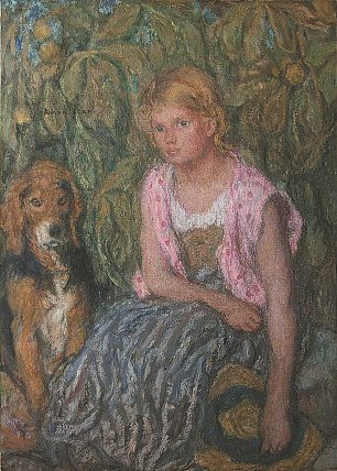 Edmond Aman Jean Young girl and her dog Wandbild