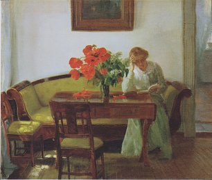 Anna Ancher Interior with poppies and reading woman Wandbild