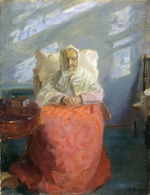 Anna Ancher Mrs Ane Brondum in the blue room Wandbild