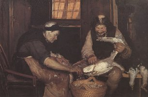 Anna Ancher Two Old People Plucking Gulls Wandbild