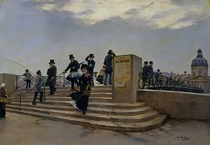 Jean Beraud A Windy Day on the Pont des Arts Wandbild