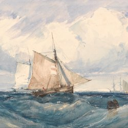 Richard-Parkes-Bonington-A-Cutter-and-other-shipping-in-a-Breeze