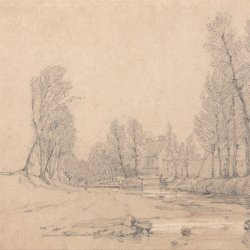 Richard-Parkes-Bonington-A-Wooded-Stream-and-a-Farmhouse-in-Normandy
