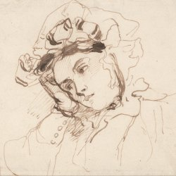 Richard-Parkes-Bonington-Study-of-a-Woman-with-her-Head-on-her-Hand