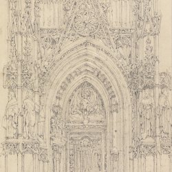 Richard-Parkes-Bonington-The-Church-of-St-Wulfran-Abbeville-The-North-Door-of-the-West-Front