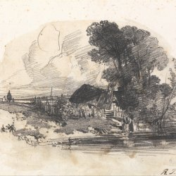 Richard-Parkes-Bonington-Trees-and-a-Cottage-by-a-River