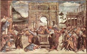 Sandro Botticelli Sixtinische Kapelle Bestrafung der Leviter Detail 2 Wandbilder