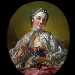 Francois-Boucher-A-young-lady-holding-a-pug-dog