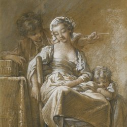Francois-Boucher-A-young-woman-with-childrean