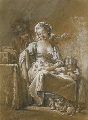 Francois Boucher A young woman with childrean Wandbild