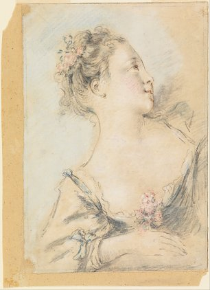 Francois Boucher Bust of a young girl Wandbild