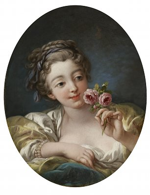 Francois Boucher Girl with Roses Wandbild