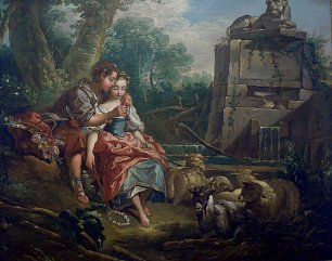 Francois Boucher L agreable lecon Wandbild