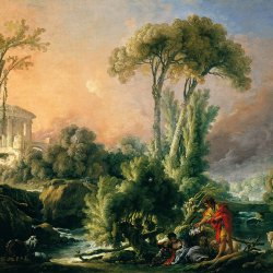 Francois-Boucher-River-Landscape-with-an-Antique-Temple