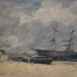 Eugene-Boudin-Fishing-Boats-at-the-Seashore