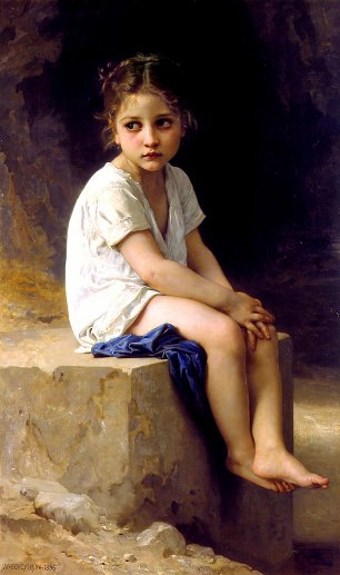 William Adolphe Bouguereau At the Foot of the Cliff Wandbild