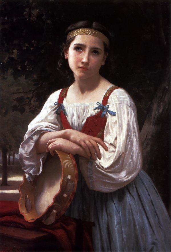 William Adolphe Bouguereau Gypsy Girl with a Basque Drum