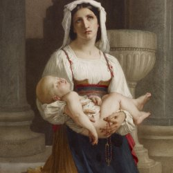William-Adolphe-Bouguereau-Italian-Peasant-Kneeling-with-Child