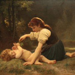 William-Adolphe-Bouguereau-Nature-s-Fan-Girl-with-a-Child
