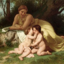 William-Adolphe-Bouguereau-Young-Woman-Contemplating-Two-Embracing-Children