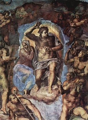 Michelangelo Buonarroti Sixtinische Kapelle Das juengste Gericht Christus mit Maria Wandbilder
