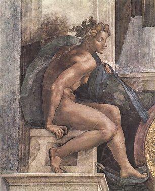 Michelangelo Buonarroti Sixtinische Kapelle Schoepfungsgeschichte Schoepfergott und Juenglinge Detail Wandbilder