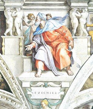 Michelangelo Buonarroti Sixtinische Kapelle Sibyllen und Propheten Der Prophet Ezechiel Wandbilder