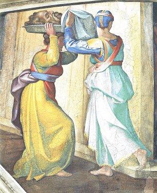 Michelangelo Buonarroti Sixtinische Kapelle Szenen aus dem alten Testament Judith und Holofernes Detail Wandbilder