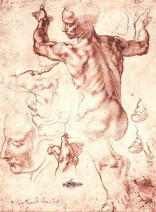 Michelangelo Buonarroti Studien fuer die Gewoelbefresken der Sixtinischen Kapelle Libysche Sibylle Wandbilder