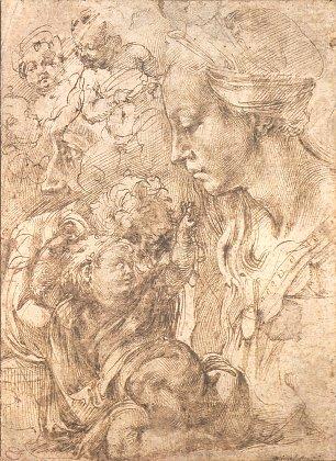 Michelangelo Buonarroti Studienblatt Madonna und Figuren Wandbilder