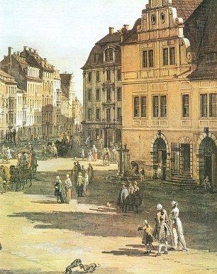 Canaletto II Das Alte Gewandhaus mit Staffelgiebel dahinter die Buergerhaeuser der Pirnaischen Gasse Wandbilder