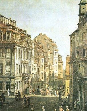 Canaletto II Das Palais Vitizthum Rutkowski die Kreuzgasse und das Langhaus der Kreuzkirche Wandbilder