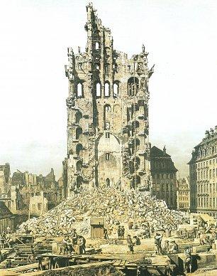 Canaletto II Der Zusammengestuerzte Turm der Kreuzkirche mit der Leiter zum Abbau Wandbilder