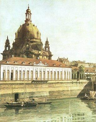 Canaletto II Die Bruehlsche Gemaeldegalerie und die Kuppel der Frauenkirche Wandbilder