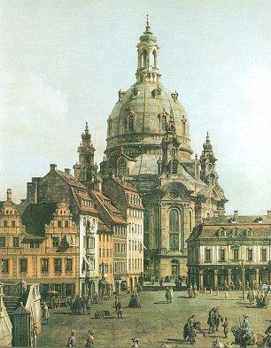 Canaletto II Die Frauenkirche zwischen den buergerlichen Barockbauten des Neumarkts und der Altstaedter Wache Wandbilder