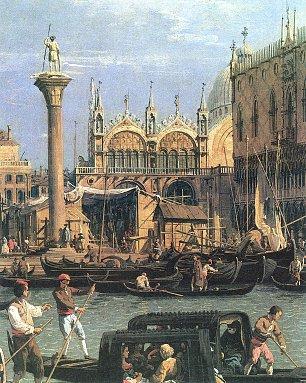 Canaletto Rueckkehr des Bucintoro zum Molo am Himmelfahrtstag Detail Wandbilder