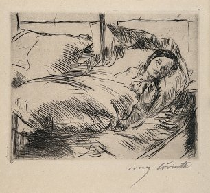 Lovis Corinth A female patient in a hospital bed Drypoint Wandbild