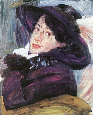 Lovis Corinth Damenportraet  mit lila Hut