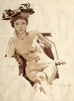 Lovis Corinth Female Semi Nude with Hat