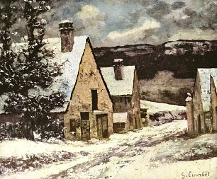 Gustave Courbet Dorfausgang im Winter