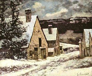 Gustave Courbet Dorfausgang im Winter Wandbilder