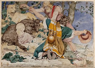Richard Dadd The infant Aesculapius discovered by shepherds on a Wellcome Wandbild