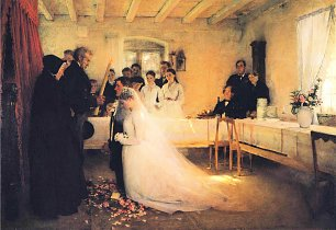 Pascal Adolphe Dagnan Bouveret Blessing of the Young Couple Before Marriage Wandbild