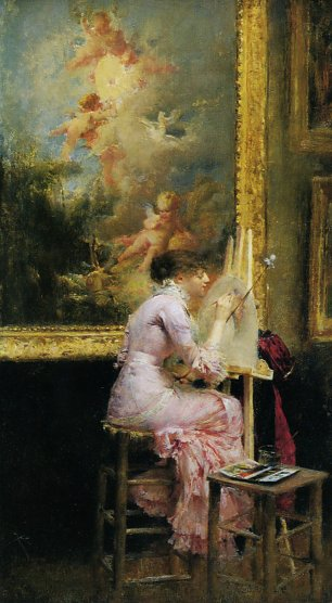 Pascal Adolphe Dagnan Bouveret The pretty artist at the museum Wandbild