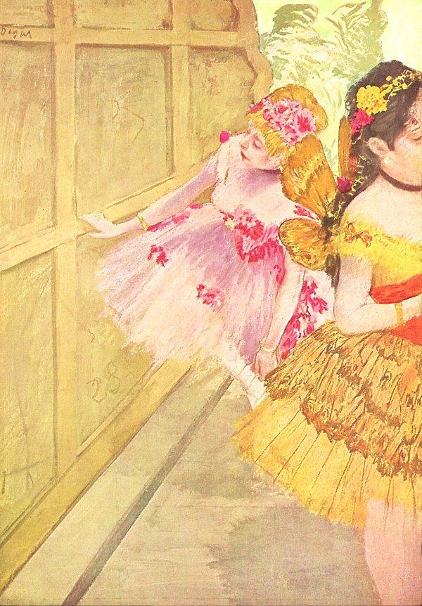 Edgar Degas Taenzerinnen hinter einer Kulisse