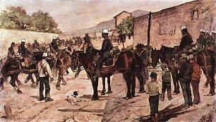 Giovanni Fattori Artilleriecorps zu Pferd auf einer Dorfstrasse Wandbilder