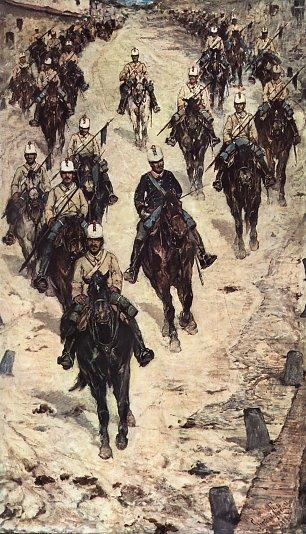 Giovanni Fattori Kavalleriecorps auf einer Dorfstrasse Wandbilder