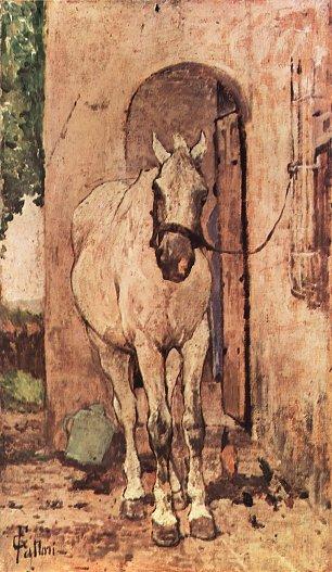 Giovanni Fattori Weisses Pferd vor einer Tuer Wandbilder