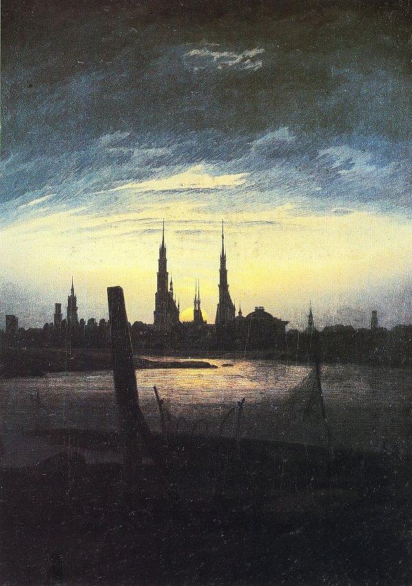 Caspar David Friedrich Stadt bei Mondaufgang